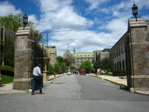 Boston College Street View with surrounding buildings