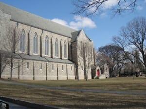 Large grey stone chapel